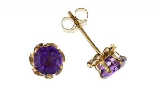 9 Carat Yellow Gold Amethyst Round Cut Stud Earrings